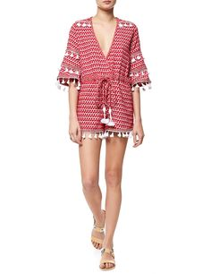 Red Cotton Jacquard Ashtar Playsuit | Dodo Bar Or | Avenue32