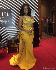 Plus Size Sexy Mermaid 2018 Joselyn Dumas Prom Dresses African Scoop Crystal Beaded Satin Celebrity Dresses Women Yellow Evening Gowns Yellow Evening Gown, Black Evening Dresses, Cheap Evening Dresses, Evening Gowns, African Evening Dresses, African Fashion Dresses, African Attire, African Wear, African Dress