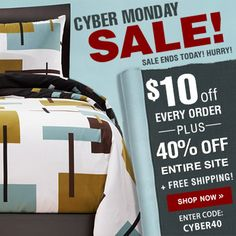 Cyber Monday Sale going on now at www.bedding.com.    $10 OFF every order + 40% OFF entire store    #cybermonday #newbedsets #sale #bedding #sheets