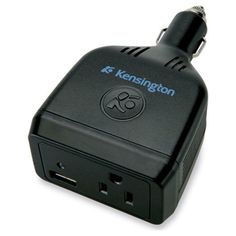 Perfect for festivals, charge your phone and hoop batteries in your car! Kensington Auto Power Inverter With USB Port In Black - Beyond the Rack