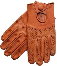 Riparo Motorsports Men's Leather Driving Gloves Genuine Leather Gloves Unlined Perforated leather Wrist strap with snap button