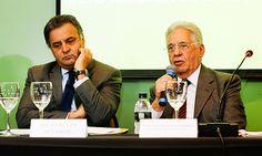 PAPO DE MALANDROI - FHC E NEVES - PAPO DE BANDIDO - Aécio Neves e o ex-presidente Fernando Henrique Cardoso em evento promovido por fundação tucana