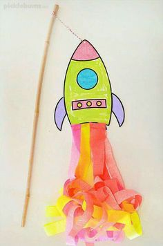 a super swishy flying rocket! Use our free printable template and step by s. - Projects to Try - Make a super swishy flying rocket! Use our free printable template and step by s. - Projects to Try - Rocket Craft For Kids Vbs Crafts, Preschool Crafts, Arts And Crafts, Paper Crafts, Alien Crafts, Rocket Craft, Space Preschool, Outer Space Crafts For Kids, Space Party