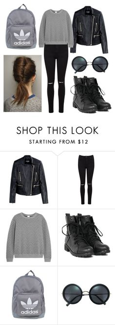 """5422"" by gabiicosta ❤ liked on Polyvore featuring Balmain, Miss Selfridge, Iris & Ink, adidas and Brixton"