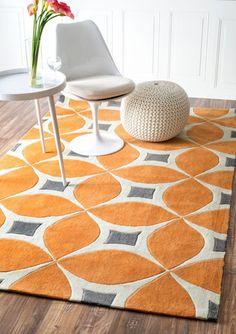 nuLOOM Deep Orange 5' x 8' Gabriela area rug|Contemporary Rugs