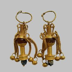 13. Earrings, 2nd-3rd Centuries A.D., gold, chalcedony hammering, brazing, repousse #ancientjewels #artisan #beautiful #handmade