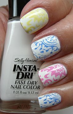 Apply two coats of Sally Hansen Whirlwind White and stamped with Sally Hansen nail polishes using Red Angel plates Fancy Nails, Love Nails, Diy Nails, Pretty Nails, Glam Nails, Gorgeous Nails, Nail Polish Designs, Nail Designs, Dry Nails Fast
