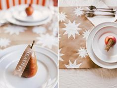 Starry Holiday Table Runner and place cards
