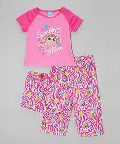 Loving this Pink Monkey Pajama Set - Toddler & Girls on #zulily! #zulilyfinds Toddler Outfits, Toddler Girls, Pajama Set, Monkey, Little Girls, That Look, Kids Fashion, Candlesticks, Mom