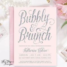 Blush Pink & Silver Glitter Bubbly and Brunch, Bridal Shower Invitation - Printed - Light Pink Pastel Party Invite