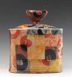 """Adero Willard,  """"A passion for color and pattern is what fuels my work as an artist. A love of clay grounds me in my work as a potter. I derive meaning from textile design, whether metaphoric or functional, fabric as a layer is essential to the ideas behind the work I make. It is as much a desire to make beautiful, useful things as it is a commitment to nurture a love of the arts and of the handmade in myself and others."""""""