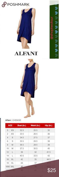 3e687542c402 Alfani Womens Hi Low Sleeveless NightShirt Blue Alfani Womens Blue V-Neck  Sleeveless Nightshirt Alfani