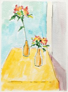 flowers on yellow table. by OldPenArtStudio on Etsy