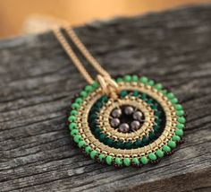 Full Bloom Necklace - Peacock - Jewelry, Pendant, Statement, Beadwork, Necklace, Handmade, Weddings, Bridal Accessories, Gifts.