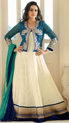 Preity Zinta Blue Coral In White Clear Sea Short Jacket Anarkali Kameez
