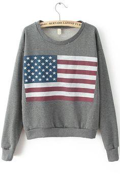 Dark Grey Long Sleeve Flag Print Sweatshirt 20.88