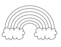 Rainbow Coloring Page for Pasta/Cotton Ball/Wax Paper Craft