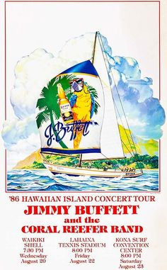 Jimmy Buffett & The Coral Reefer Band - Hawaiian Island Tour - 1986 - Concert Poster Magnet Jimmy Buffett Concert, Jimmy Buffett Margaritaville, Uc Santa Barbara, Concert Posters, Music Posters, Island Tour, Rock Concert, Poster Pictures, Room Posters