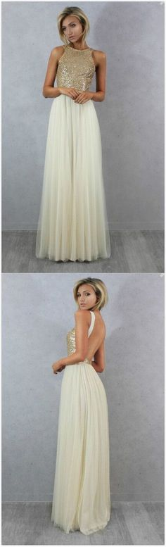 Champagne Gold Sequin Bridesmaid Dresses ,Cheap Long Party Dress
