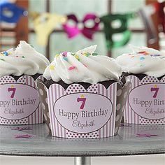 These cupcake decorations are so cute! They're the Birthday Girl Personalized Cupcake Wrappers from PersonalizationMall. You can personalize a set of 24 with any 2 lines and their age ... cute way to bring birthday treats to school, too! (They also have wrappers for boys, Christmas, Halloween and more!) #Cupcake #Birthday #Bake