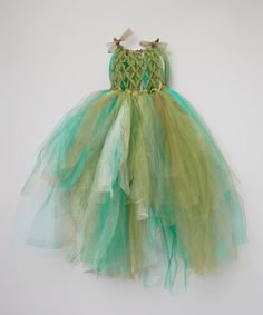 For the absolute dreamiest forest fairy....SO gorgeous! Weave some ribbons & flowers in her hair, with a moss or grapevine ring on top of her head.  Take a look at this Green & Blue Tutu Dress - Toddler & Girls by Enchanted Fairyware Couture on #zulily today!