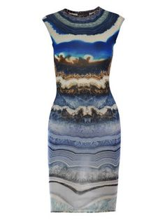 I thought rock hounds might appreciate the cool agate print on this pencil dress by Alexander McQueen