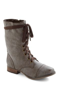 I Finally Found You Boot - Grey, Solid, Military, Lace Up, Rustic, 90s