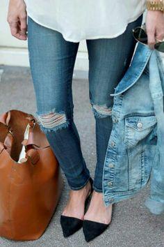 Torn jeans, black d'orsay flats