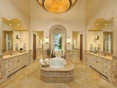 walk thru shower  mediterranean bathroom by Amitha Verma Interior Design, LLC