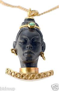 18K Gold Blackamoor Vintage Pendant Charm Turquoise Beautiful Carving Detail.
