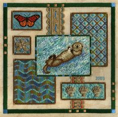 Two-Handed Stitcher: It's Otter Time! Beachy Colors, Tropical Colors, Cross Stitch Patterns, Quilt Patterns, Pineapple Quilt, Couture, Otters, Cross Stitching, Blackwork