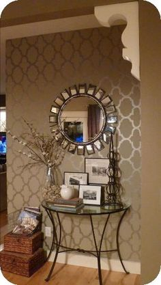 DIY wall accents: glossy paint stencils over matte paint background in the same color