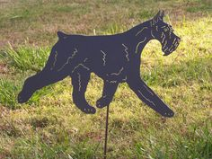 Giant Scnauzer a gility garden stake dog metal art . This artisan made sculpture is a nice gift for the dog lover in your life. I have made over