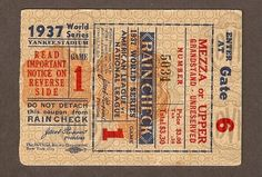 1937 World Series Ticket Stub Game 1 New York Yankees vs New York Giants | eBay