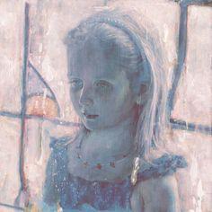 """jamesjean, Portrait (Girl), Acrylic on Wood Panel, 12 x 12"""", 2014."""