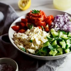 During the warmer months, this salad is served more often than I'd like to admit. I serve it with grilled meats and fish, with pita breads and dips a