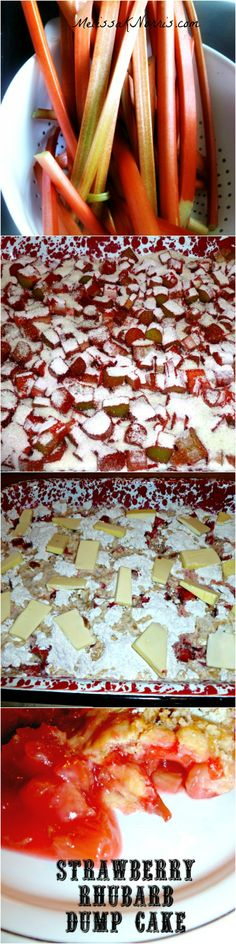 "Strawberry Rhubarb Dump Cake with No boxed cake mix (homemade ""box cake"" recipe)!! Recipe at www.melissaknorris.com"