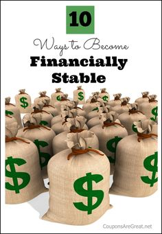 10 ways to become financially stable - make a meal plan, use cash back sites, and more.