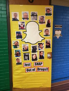 """Red Ribbon Week door, done 2015. Had the kids each take a selfie with my phone, printed them off from a color printer, had them make their own drug-free themed """"caption"""" with black paper and white colored pencil. Traced the Snapchat ghost using butcher paper and my projector."""