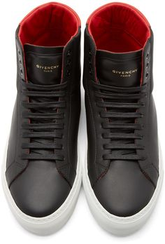 Givenchy Black & Red Leather High-Top Sneakers