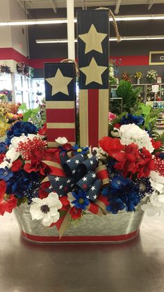 Patriotic Large Arrangement by Randi Sheldon at Michaels 1600 Fourth Of July Decor, 4th Of July Celebration, 4th Of July Decorations, 4th Of July Party, July 4th, 4th Of July Wreath, Patriotic Crafts, Patriotic Party, July Crafts