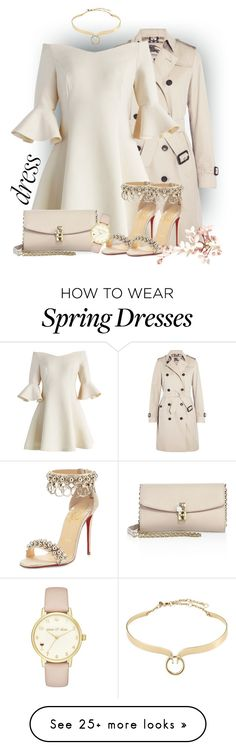 """Spring Trend - Off-Shoulder Dresses"" by sonyastyle on Polyvore featuring Burberry, Chicwish, Christian Louboutin, Dolce&Gabbana, Alexis Bittar and Kate Spade"
