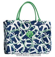 Monogrammed Navy Anchors Daytripper Tote