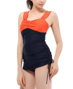 Women's Retro Sexy Colorblock Open Back One Piece SwimSuit Bathing Swimming Suits Swimwear Dress Orange Navy L Swimsuits, Bikinis, Swimwear, Swim Dress, Suits For Women, One Piece Swimsuit, Color Blocking, Tankini, Fashion Brands