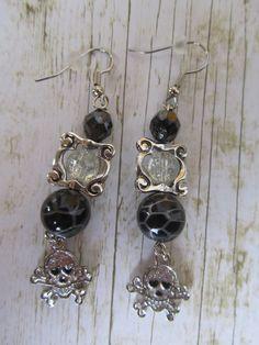 Black and Silver Skull Earrings Halloween by BrownBeaverBeadery, $6.00