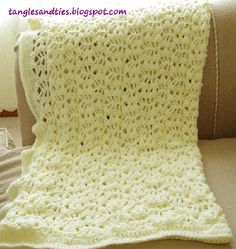 Tangles & Ties: Crochet Cream, Lace Baby Blanket