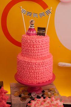 Pink Ruffled Pirate Princess Cake