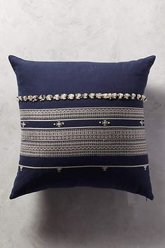Anthropologie EU Alezia Embroidered Cushion. Delicately embroidered accents and sumptuous hues add an exotic accent to abodes.