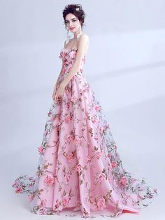 Beautiful Prom Dress Pink Sweetheart Lace Flower Brush Train Sleeveless Prom Dress/Evening Dress # VB1031