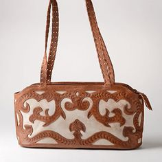 Scroll Cutout East/West Tooled Bag by Leaders in Leather